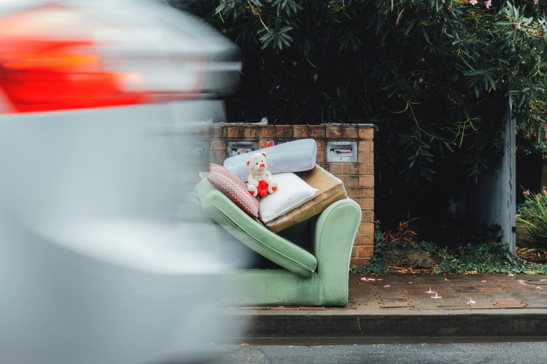 flytipping a sofa with some things