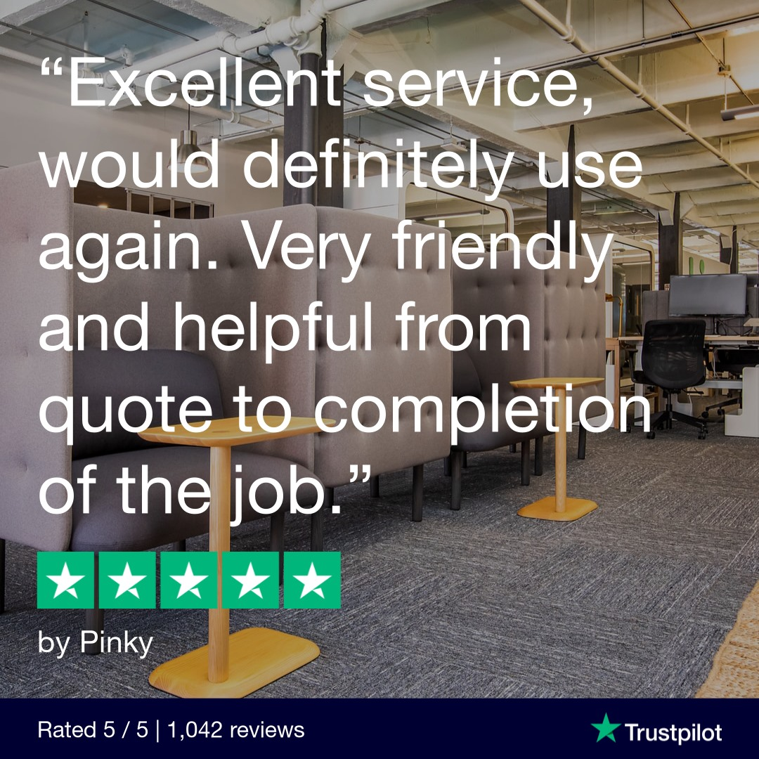 """quote reading """"excellent service, would definitely use again. Very friendly and helpful from quote to completion of the job."""
